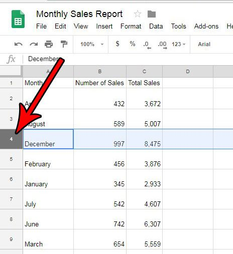 how to clear a row in google sheets