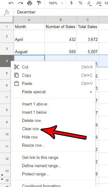 how to empty the cells in a row in google sheets