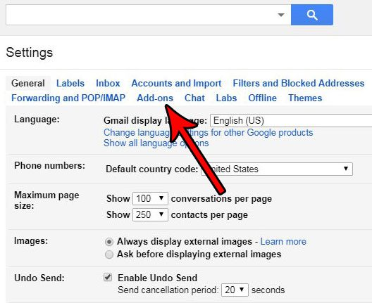 choose the add ons tab in gmail settings