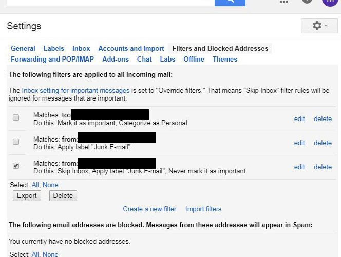 how to delete an existing gmail email filter
