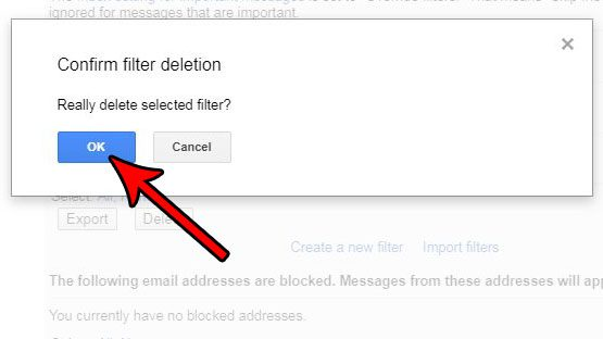 how to delete a filter in gmail