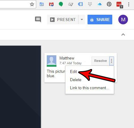 how to change a google slides comment