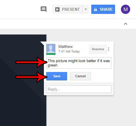 how to edit a comment in google slides