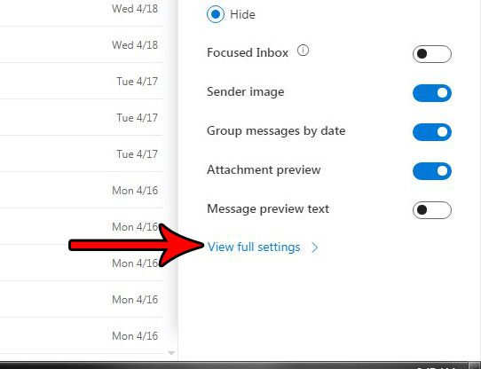 outlook.com notification settings
