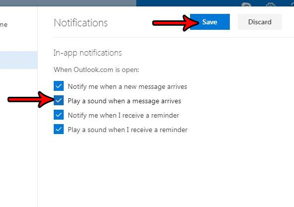 how enable sound notification outlook.com
