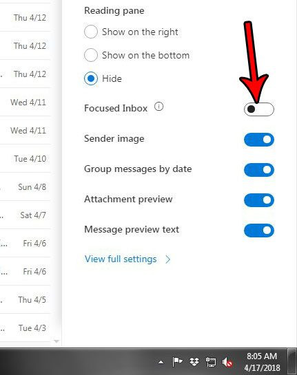toggle the focused inbox in outlook.com email
