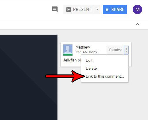 how send link comment google slides