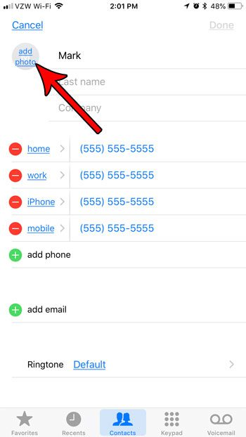how add contact photo for iphone messages