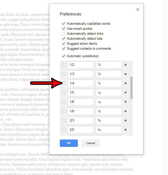 how stop fraction replacement google docs