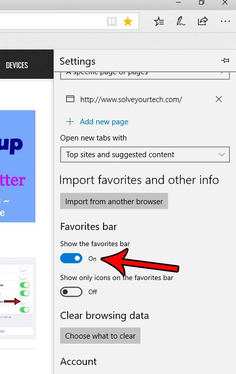 how to hide or show the favorites bar in edge