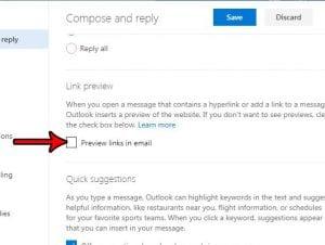 how turn off link previews in outlook.com