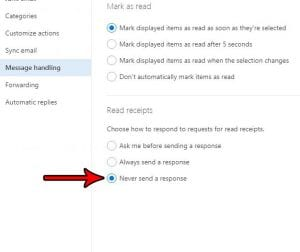 how turn off read receipts outlook.com
