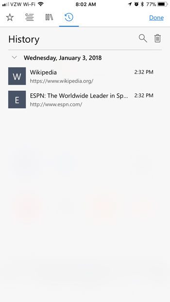 how to view browsing history in edge iphone app