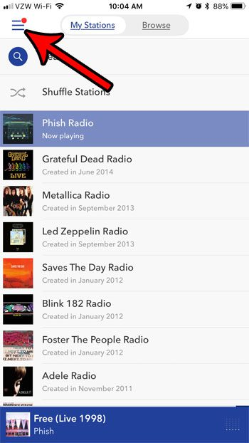 open pandora iphone menu