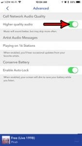 get higher quality audio in pandora on iphone