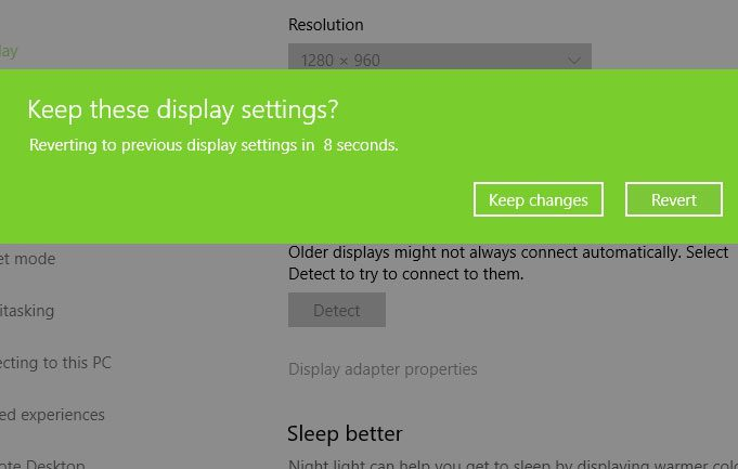 keep or revert changes windows 10 display