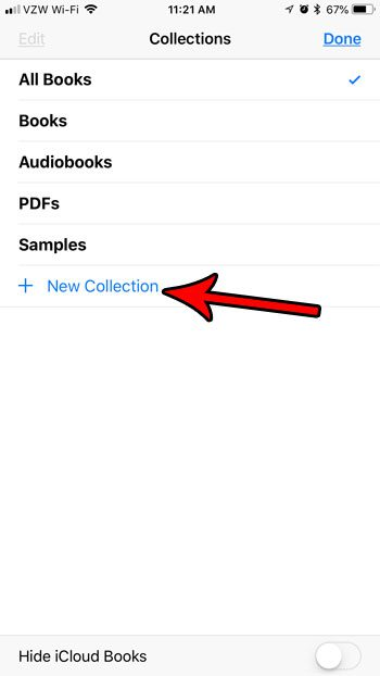 how to create new collection ibooks iphone