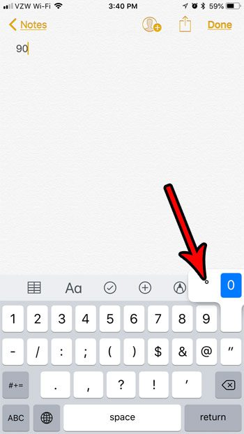 how to insert degree symbol iphone 7