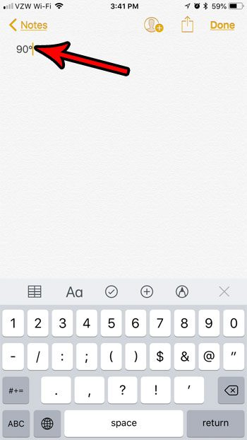 how to add a degreen symbol ios 11