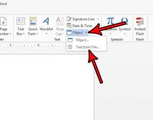 how to insert file word 2013