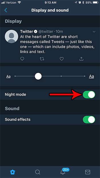 holw to enable night mode in twitter on iphone