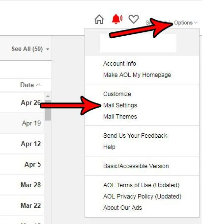 open the aol mail settings menu