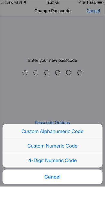 what kind passcode can use iphone 7