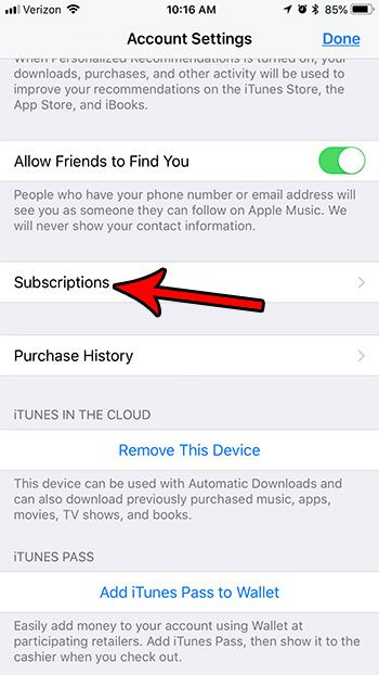 how find subscriptions on iphone 7