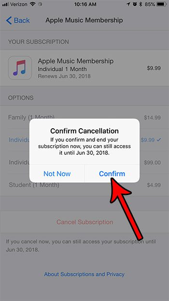 how to cancel apple music subscription from iphone