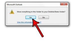 how to delete all emails from a folder in outlook 2013