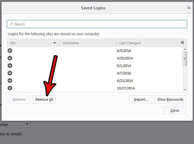 how to delete saved usernames and passwords from firefox