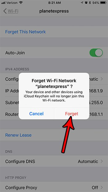 how to forget a wifi network on an iphone 7