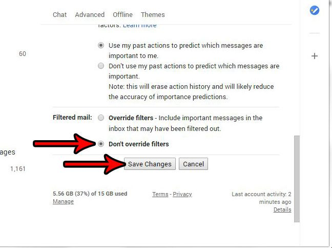 how to stop overriding filters in gmail