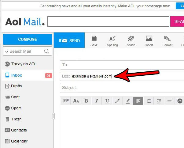 how to bcc in aol mail