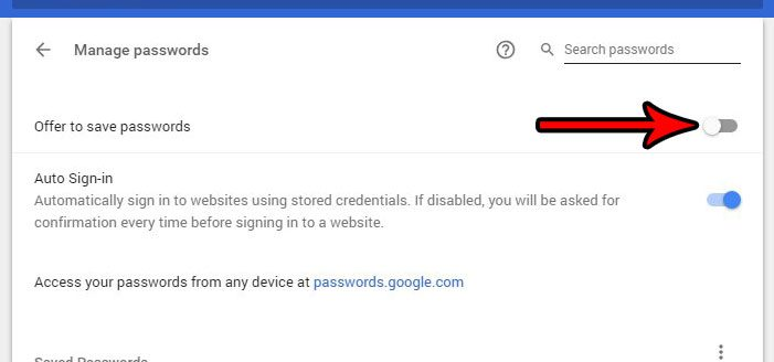 how to stop offering to remember saved passwords google chrome