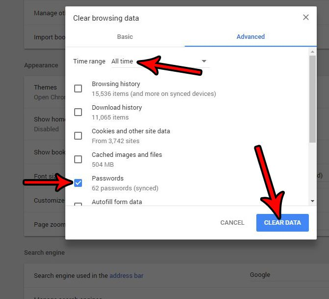 how to delete all saved passwords google chrome