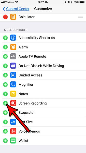how enable screen recording iphone 7