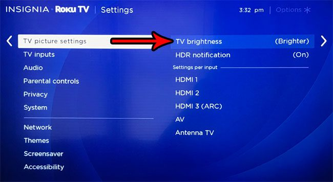 change roku tv brightness level
