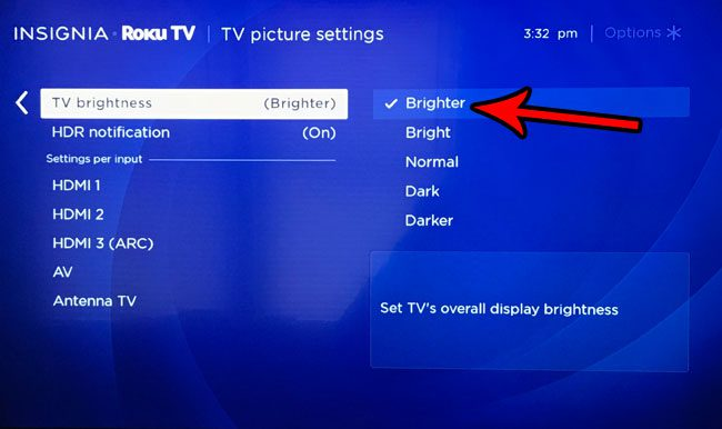 how to adjust brightness on the roku tv