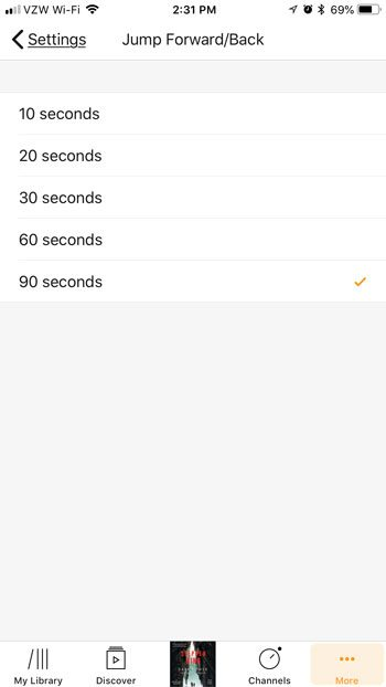 how change rewind and fast forward intervals in audible iphone app