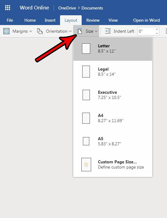 how to change paper size in word online