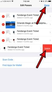 how to delete items from iphone wallet