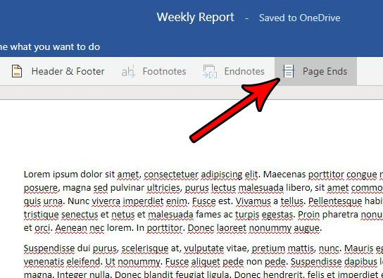 how to enable or disable page ends word online