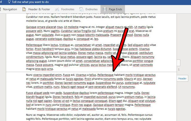 word online what are page ends