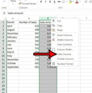 how to hide a column in excel online