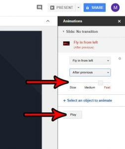how to make picture fly in google slides