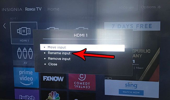 how to change a name of an input on roku tv