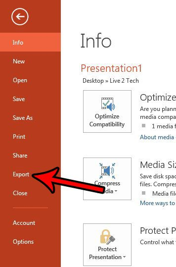 open the export menu in powerpoint 2013