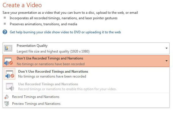 adjust timing and narrations settings for mp4 video