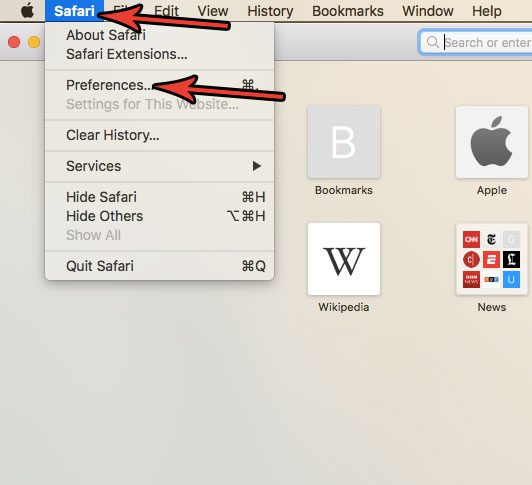 open safari preferences menu